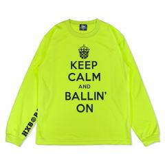HXB DRY Long Sleeve Tee 【KEEP CALM】 LT.GREEN×BLACK