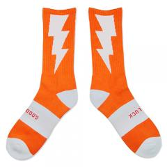 "HXB 【GOOD LUCK SOCKS】 ""雷"" NEON ORANGE(蛍光) ×WHITE"