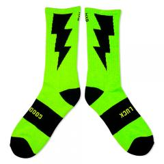 "HXB 【GOOD LUCK SOCKS】 ""雷""  NEON LIME(蛍光) ×BLACK"