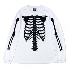 HXB DRY Long Sleeve Tee 【SKELETON】 WHITE×BLACK