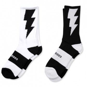 "HXB 【GOOD LUCK SOCKS】 ""雷"" WHITE×BLACK"