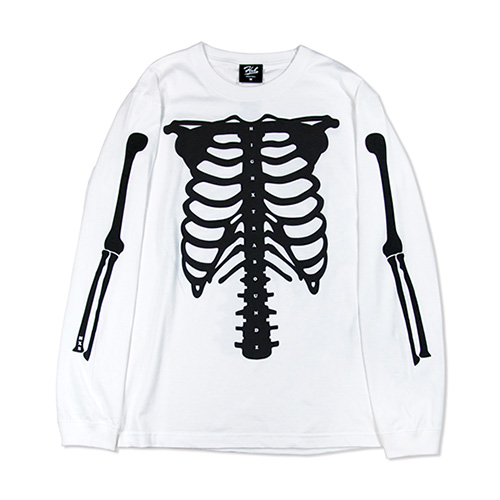 HXB COTTON Long Sleeve Tee 【SKELETON】 WHITE