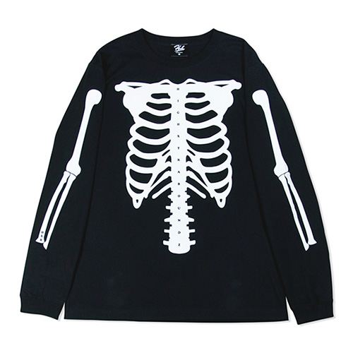 HXB COTTON Long Sleeve Tee 【SKELETON】 BLACK