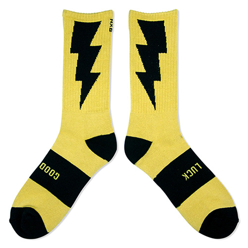 "HXB 【GOOD LUCK SOCKS】 ""雷"" GOLD×BLACK"