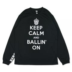 HXB DRY Long Sleeve Tee 【KEEP CALM】 BLACK×WHITE