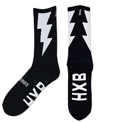 "HXB ""GOOD LUCK SOCKS"" 【THUNDER】 BLACK×WHITE"