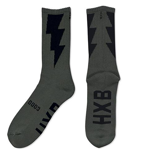"HXB ""GOOD LUCK SOCKS"" 【THUNDER】 ARMY GREEN×BLACK"