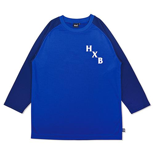 HXB DRY CUTOFF SLEEVE TEE 【XOVER】 BLUE/NAVY