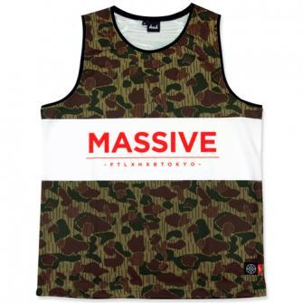 HXB×FLATLUX Graphic Tank【MASSIVE】Rain hunter camo