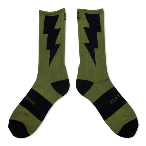 "HXB 【GOOD LUCK SOCKS】 ""雷"" OLIVE×BLACK"