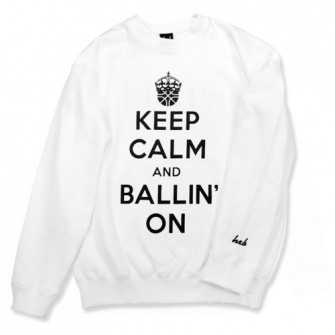HXB SWEAT CREW NECK 【KEEP CALM】 WHITE