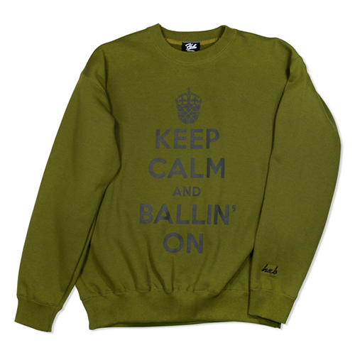 HXB SWEAT CREW NECK 【KEEP CALM】 OLIVE