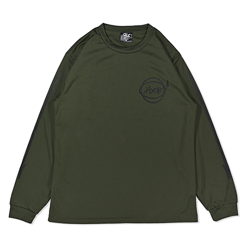 HXB DRY Long Sleeve Tee 【Marker】 ARMY GREEN×BLACK
