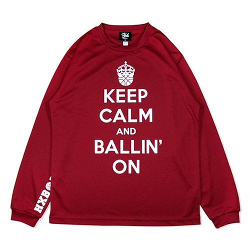 HXB DRY Long Sleeve Tee 【KEEP CALM】 BURGUNDY