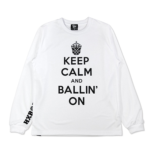 HXB DRY Long Sleeve Tee 【KEEP CALM】 WHITE×BLACK