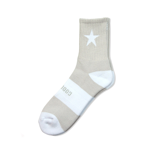 "HXB 【GOOD LUCK SOCKS】 ""STAR"" LIGHT GRAY×WHITE"