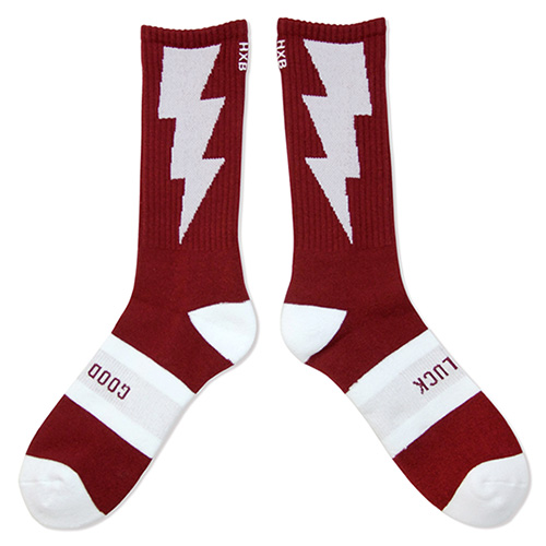"HXB 【GOOD LUCK SOCKS】 ""雷"" BURGUNDY×WHITE"