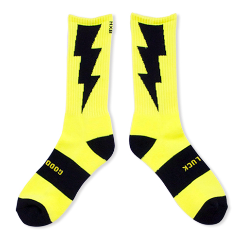 "HXB 【GOOD LUCK SOCKS】 ""雷""  NEON YELLOW(蛍光) ×BLACK"
