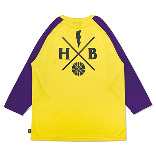 HXB DRY CUTOFF SLEEVE TEE 【XOVER】 YELLOW/PURPLE