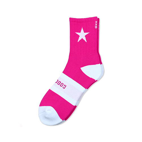 "HXB 【GOOD LUCK SOCKS】 ""STAR"" NEON PINK×WHITE"