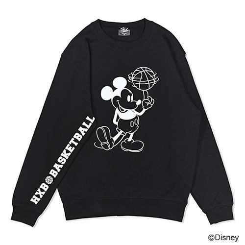 Mickey / HXBバスケットボール スウェットトレーナー / ブラック×ホワイト