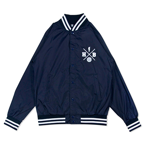 HXB NYLON STUDIUM JKT. 【XOVER】  NAVY×WHITE