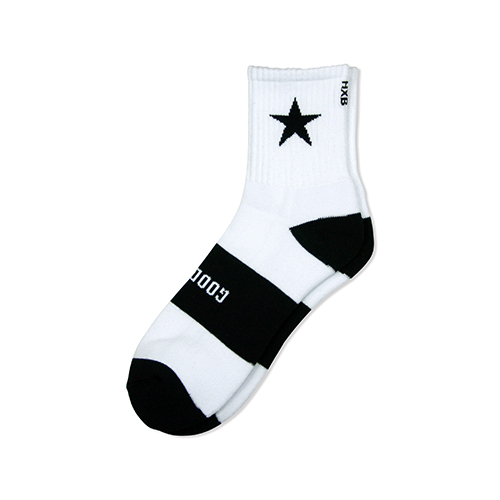"HXB 【GOOD LUCK SOCKS】 ""STAR"" WHITE×BLACK"