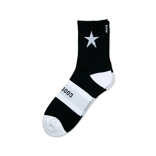 "HXB 【GOOD LUCK SOCKS】 ""STAR"" BLACK×WHITE"